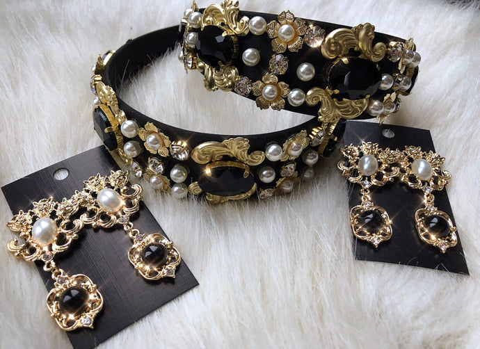 Black & gold ROYAL baroque style headband