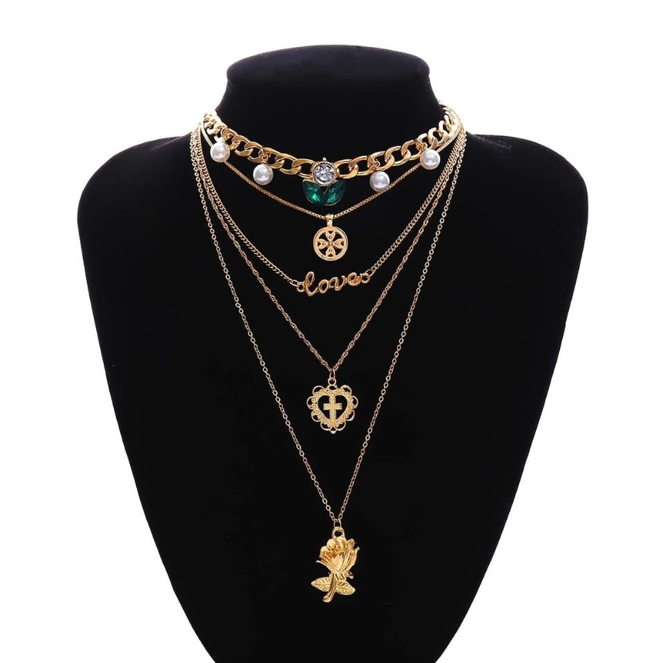 Gold 5PC Emerald layer necklace