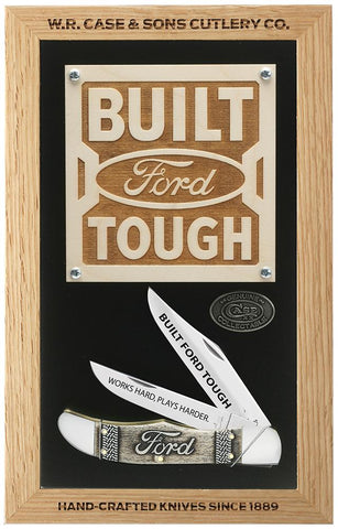Ford Commemorative Embellished Smooth Natural Bone Folding Hunter (in Wooden Shadow Box)