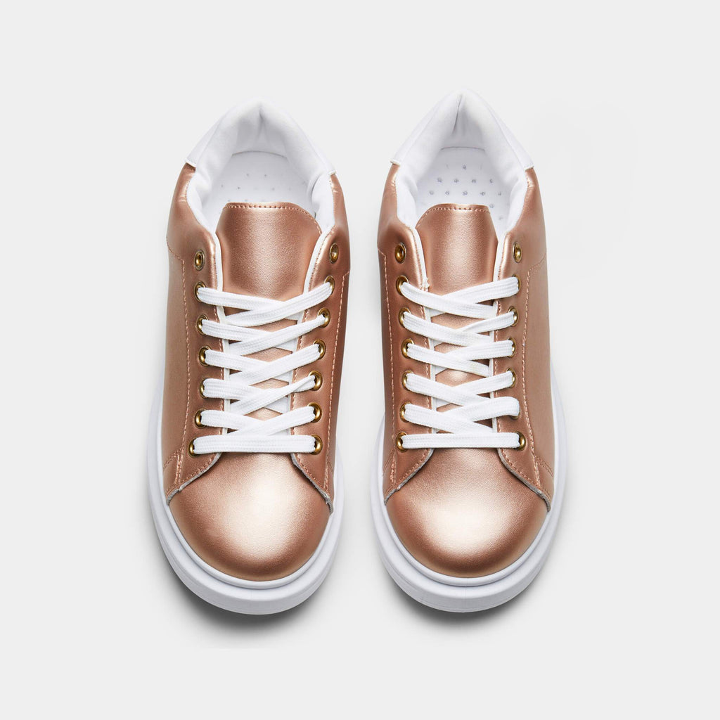 Gold BLOSSOM Sleek Metallic Chunky Trainers 1