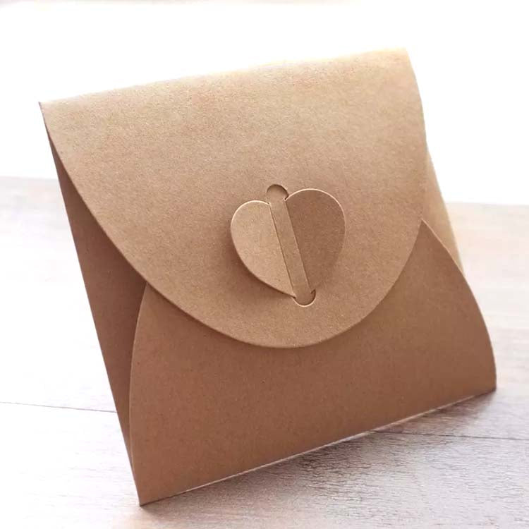Heart Tuck-Seal Kraft Envelope shown folded