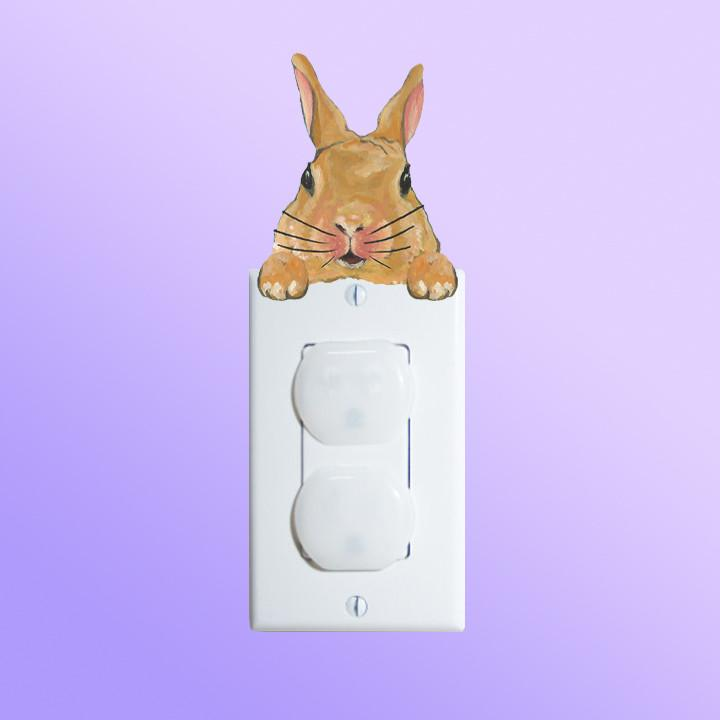 Honey Rabbit Lightswitch Topper Decal shown on outlet