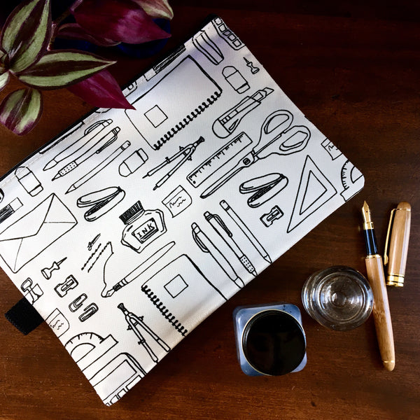 Quirky Line Drawing Large Zipper Pencil Case with Clear Back