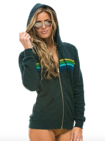 5 Stripe Hoodie in Charcoal/Green, AVIATOR NATION - VALLEY TRIBECA