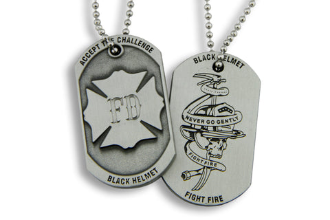Black Helmet Accept The Challenge Never Go Gently  Dog Tag