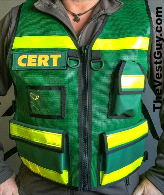 Green CERT Reflective Vest with pockets