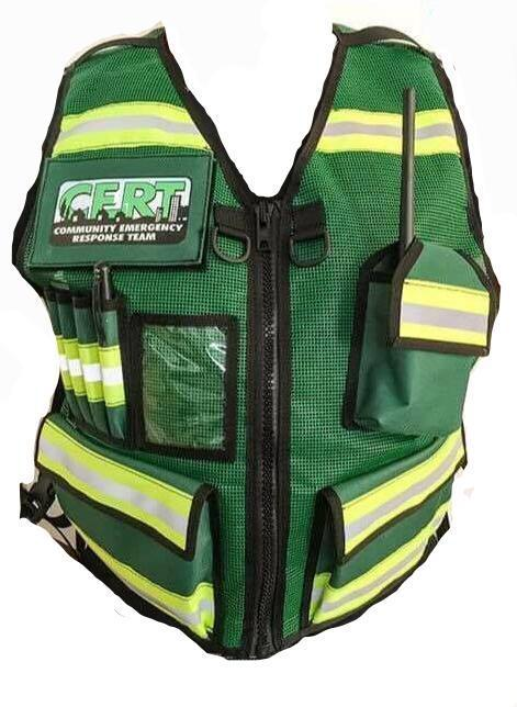Green and Yellow CERT Vest with pockets