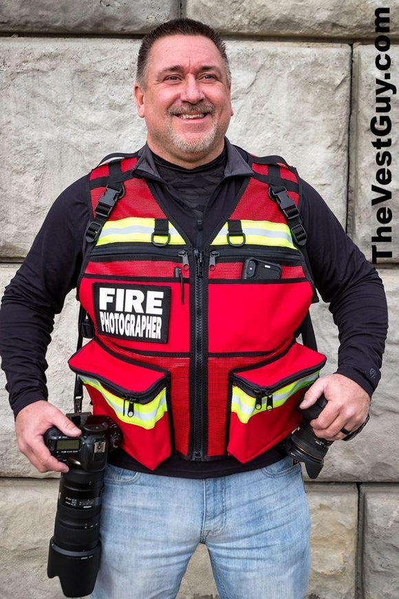 Red reflective Metro Fire Photographer Vest