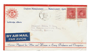 "AB. LETHBRIDGE 1943. ADVERTISING COVER ""BEAR THE BEST GARMENTS"" AIR MAIL TO QUEBEC. SLIGHT TEAR AT TOP"