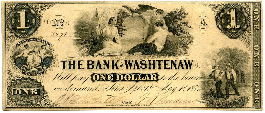 Michigan-Ann Arbor, The Bank of Washtenaw $1, May 1, 1854