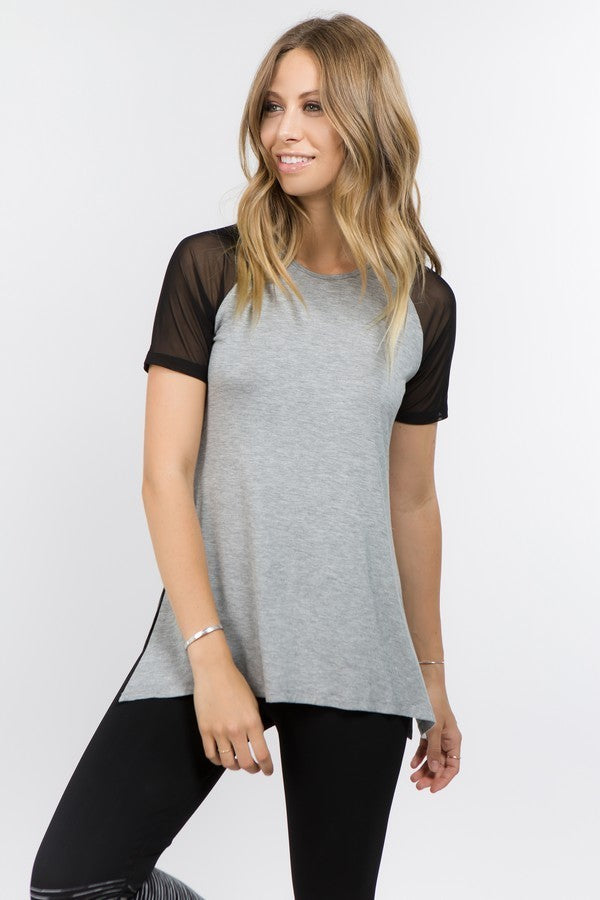 Heather Mesh Top
