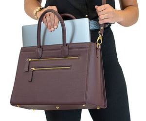 'She Won' Grain Vegan Tanned Leather Laptop Work Bag Deep Plum