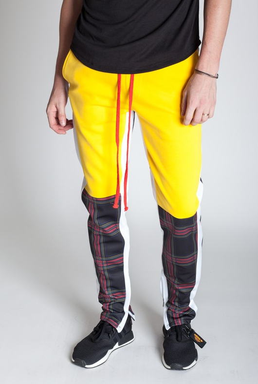 KDNY's Plaid Blocked Track Pants - Yellow