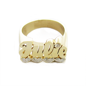 Women's Solid Gold Name Ring – White Gold Hearts Accent