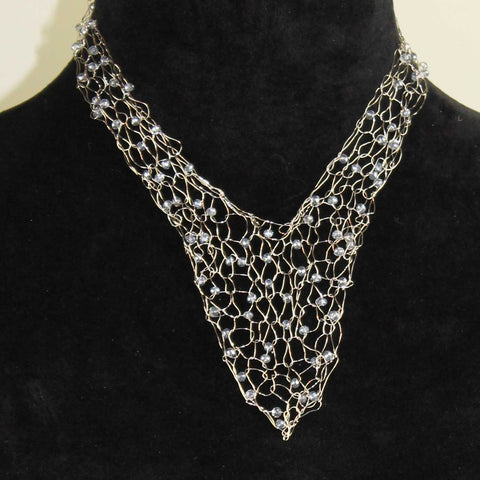 352N  Wire Vneck Necklace-Silver