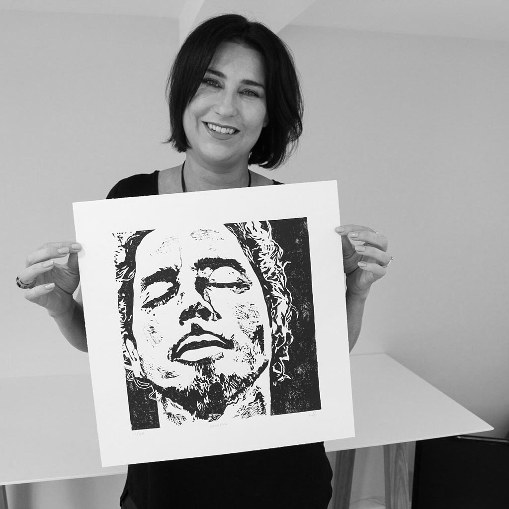 My great friend and first customer Cath with her Chris Cornell art print
