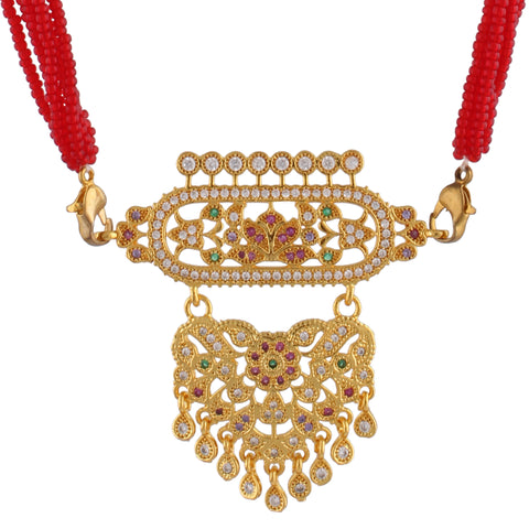 Indian Jewellery from Meira Jewellery:Rajasthani Jewellery,Rajasthani Rajputi Golden Micro Aad American Diamond multi strand for Women (Small Size) Red