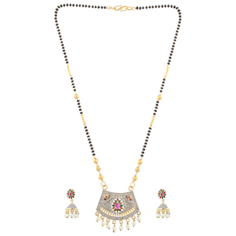 Indian Jewellery from Meira Jewellery:Mangalsutra,Gold Plated Pink, Red, Green Stoned Mangalsutra with Gold  and Black beads