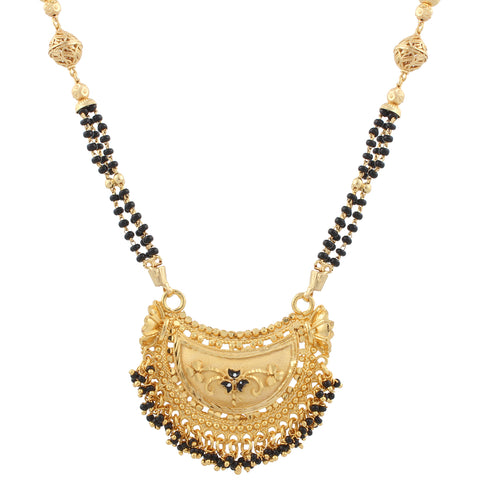 Indian Jewellery from Meira Jewellery:Mangalsutra,Traditional Gold Plated Black Bead Chain Imitation Mangalsutra Jewellery For Women
