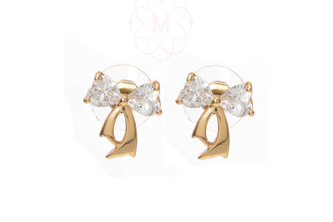 Indian Jewellery from Meira Jewellery:Earrings,Rose Gold Plated Bow design CZ studded Stud Earring