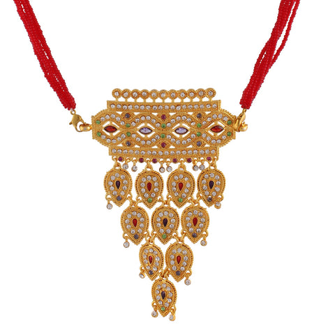 Indian Jewellery from Meira Jewellery:Rajasthani Jewellery,Rajasthani Rajputi Golden Aad with pear & marquise cut gems strand for Women