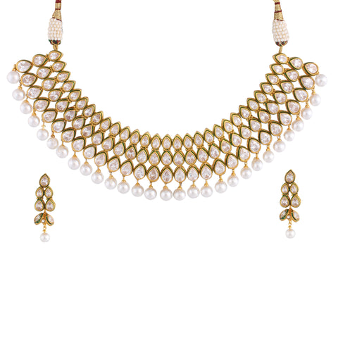 Indian Jewellery from Meira Jewellery:Necklace,TRIPLE LINE KUNDAN CHOKER NECKLACE SET WITH MATCHING EARRING FOR WOMEN