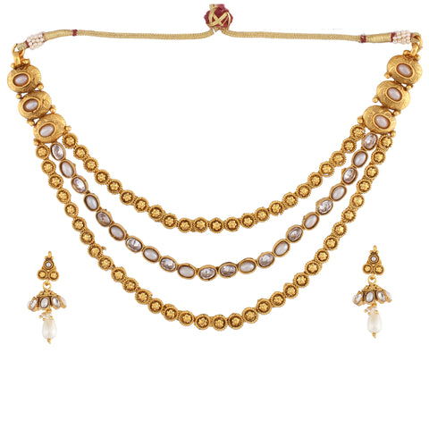 Indian Jewellery from Meira Jewellery:Necklace,TRIPLE LINE NECKLACE SET WITH PEARL MULTISTRAND & MATCHING EARRING FOR WOMEN
