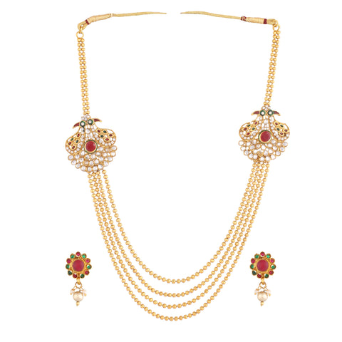 Indian Jewellery from Meira Jewellery:Necklace,Gold Plated Multi-Strand Necklace With Earrings Set For Women