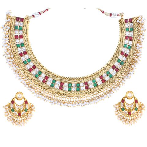 Indian Jewellery from Meira Jewellery:Necklace,PRINCESS CUT KUNDAN NECKLACE SET WITH MULTI COLOR & MATCHING EARRING FOR WOMEN