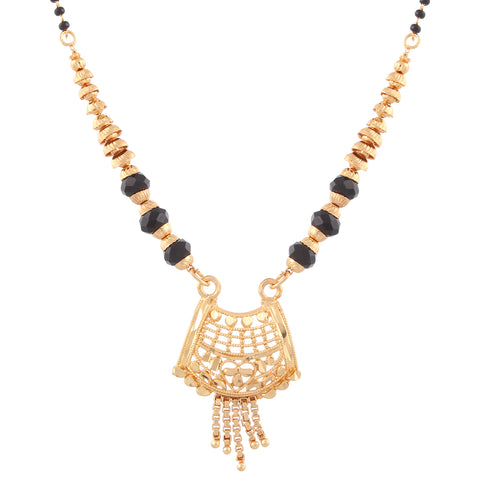 Indian Jewellery from Meira Jewellery:Mangalsutra,Gold Plated Traditional Design Mangalsutra with tassel