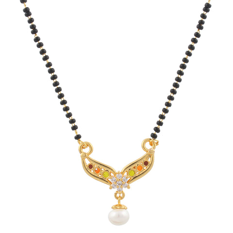 Indian Jewellery from Meira Jewellery:Mangalsutra,Gold Plated Compact Design Mangalsutra with studded Pearl