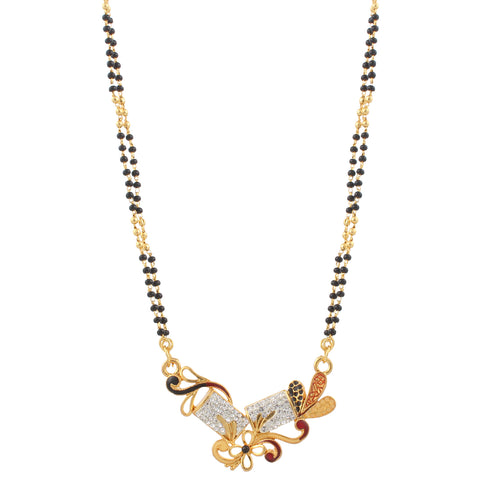 Indian Jewellery from Meira Jewellery:Mangalsutra,Floral Design Imitation Mangalsutra Jewellery with Gold Plating For Women