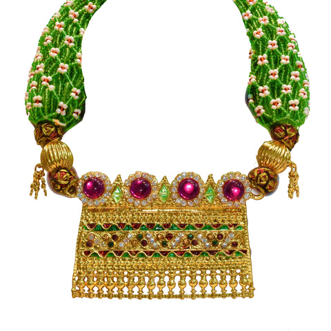 Indian Jewellery from Meira Jewellery:Rajasthani Aad,Gold plated White Stone Rajasthani Aad with Pink Pearls and Green beads