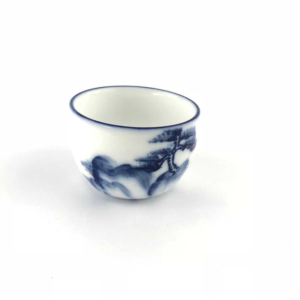 White And Blue Painted Tea Cups