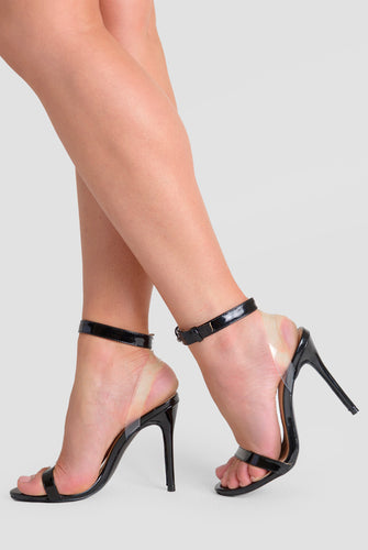 Mabel Perspex Barely There Two Strap Heels In Black Patent