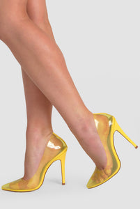 Kate Perspex Court Heel In Yellow Patent