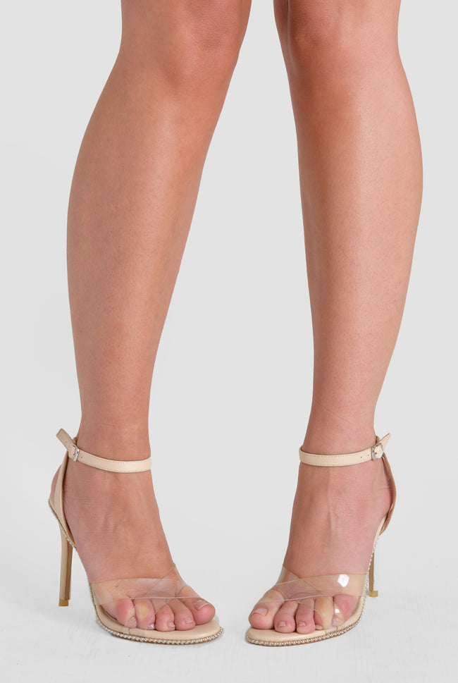 Athena Perspex Studded Barely There Heel in Nude Faux Leather