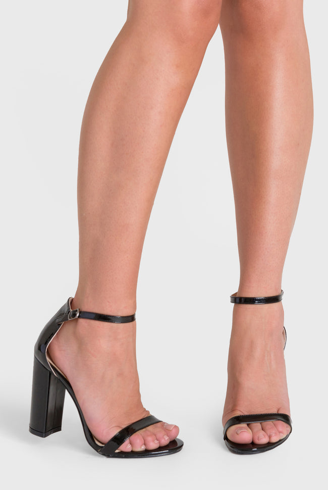 Isla Single Strap High Block Heel in Black Patent Faux Leather