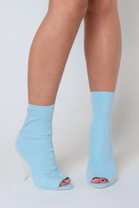 Erin Peep Toe Sock Boot In Pale Blue Lycra