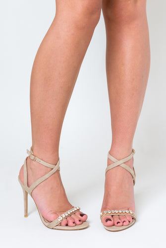 Lila Nude Faux Leather Heels with Diamante Detail