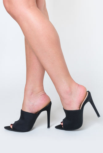 Kiera Pointed Peep Toe Mule In Black Lycra