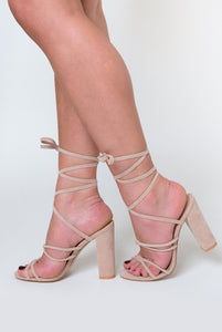Willow Knot Detail Lace Up Block Heel In Nude Faux Suede