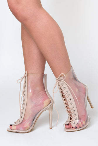 Marnie Perspex Ankle Boot In Nude Patent