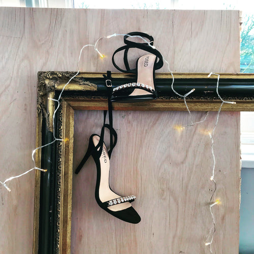 Lila Diamante Detail Strappy Stiletto Heels in Black Faux Suede