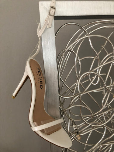 Isa Perspex Barley There Stiletto Heels In White Patent