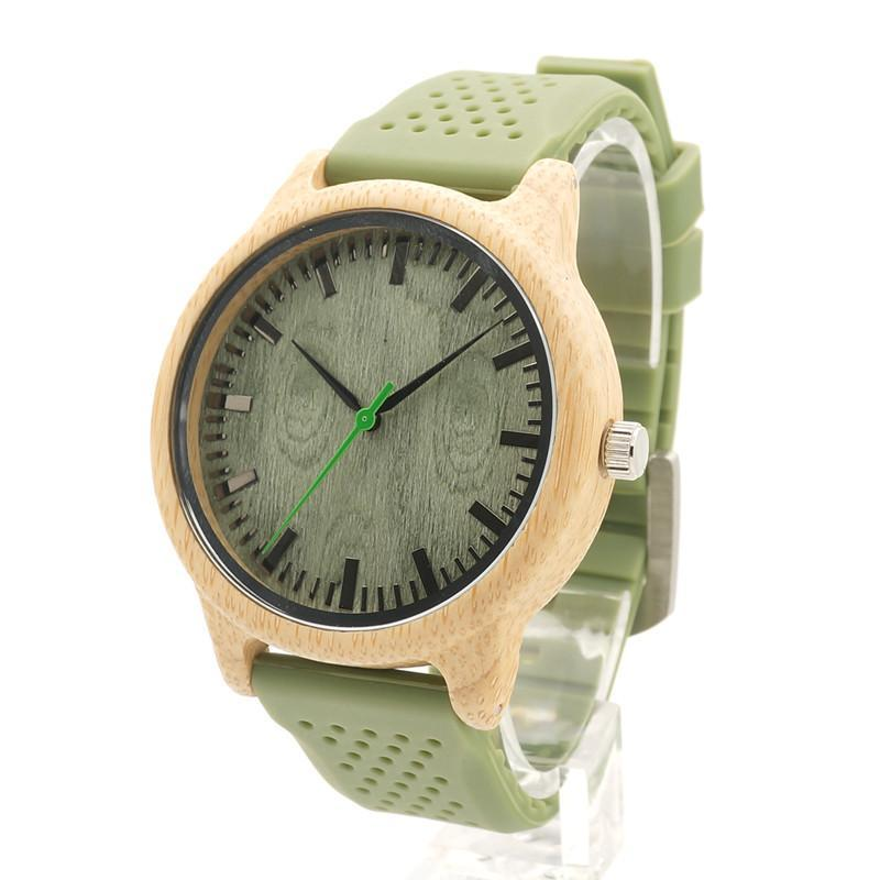 Bamboo Watch for Men with Green Silicone Strap