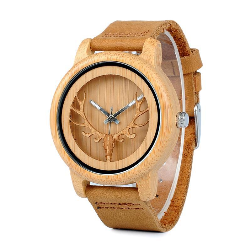 Hollow Bamboo Wood Watch with Deer Head