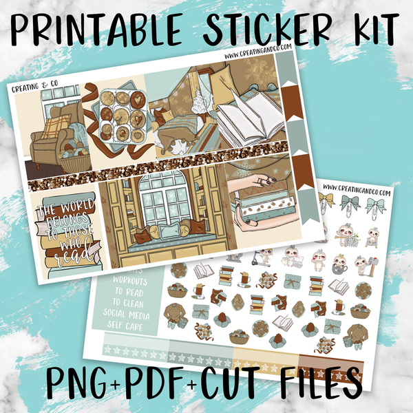 Winter Reads Printable Weekly Planner Stickers - PK7
