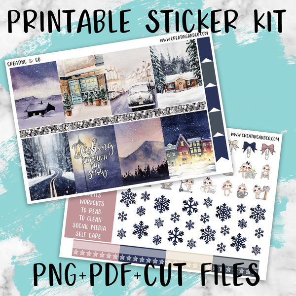 Winter Vibes Printable Weekly Planner Stickers - PK8
