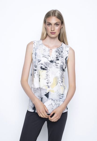 Keyhole Tank With Pleated Neckline